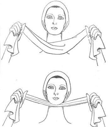 массаж подбородка полотенцем