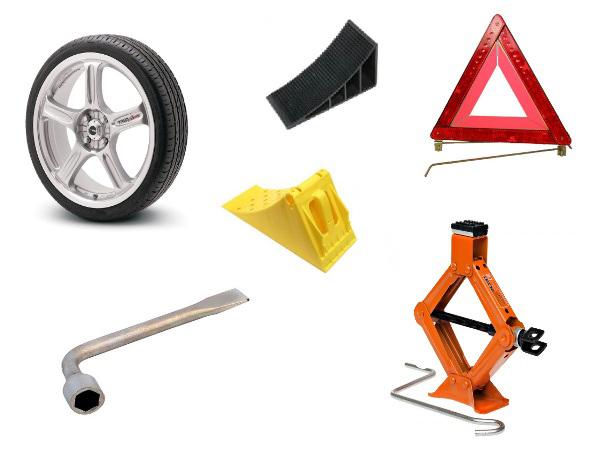 Инструменты для замены колес на автомобиле